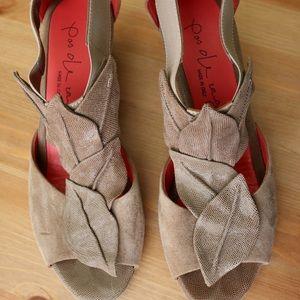 Pas De Rouge taupe wedge sandals